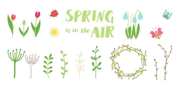 Set lente en zomer elementen. de eerste bloemen, twijgen en insecten. decoratieve iconen voor 8 maart. platte vectorillustratie voor vrolijk pasen, april vakantie