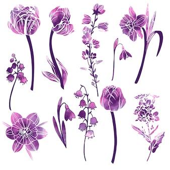 Set lentebloemen met paarse abstracte textuur