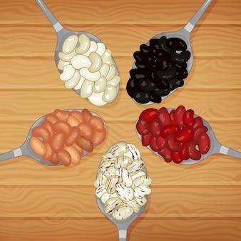 Set lepels met bonen op houten tafel. cartoon stijl.