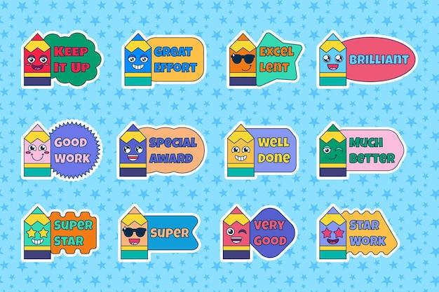 Set lerarenbeloningsstickers, schattige cartoon schoolprijsborden met lachend potlood. aanmoedigingsteken voor basisschoolleerlingen of basisschoolleerlingen. vector illustratie