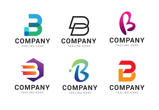 Set letter b logo pictogrammen sjabloon elementen