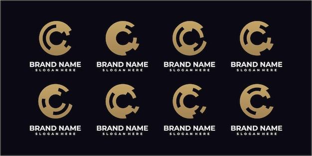 Set letter c in cirkel logo ontwerp inspiratie. letter c-logo. cirkel logo ontwerp