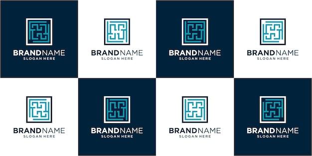 Set letter h logo ontwerp inspiratie. letter h-logo ontwerp. h-logo sjabloon