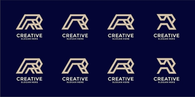 Set letter r monogram logo ontwerpsjabloon