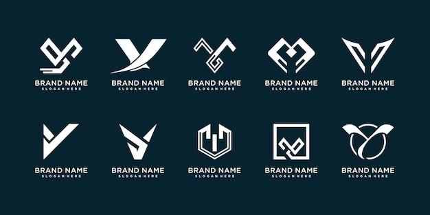 Set letter y-logocollectie met modern creatief concept premium vector