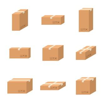 Set levering kartonnen dozen verschillende maten karton geïsoleerd op een witte achtergrond. kartonnen dozen pack met verpakkingspictogrammen. gesloten pakketdoos, pakket papieren dozen in vlakke stijl.