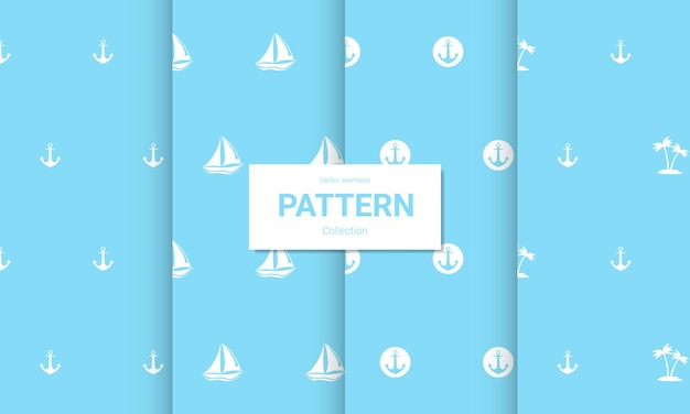 Set lichtblauwe naadloze patronen. vector naadloze nautische texturen.