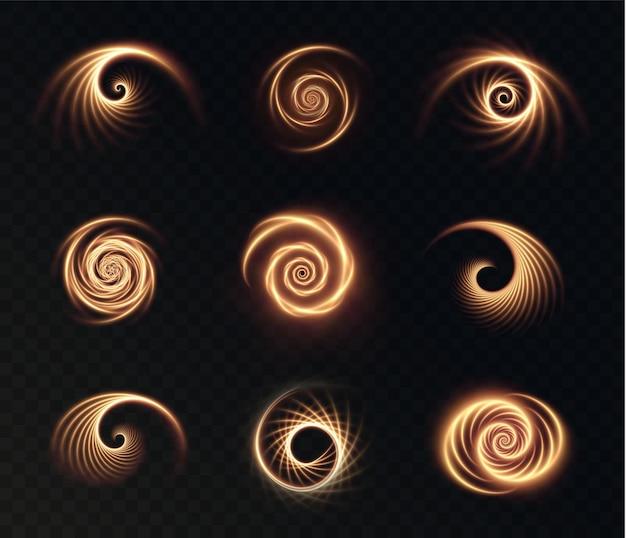 Set lichtgevende gouden spiralen op een transparant oppervlak
