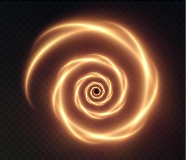 Set lichtgevende gouden spiralen op een transparante achtergrond