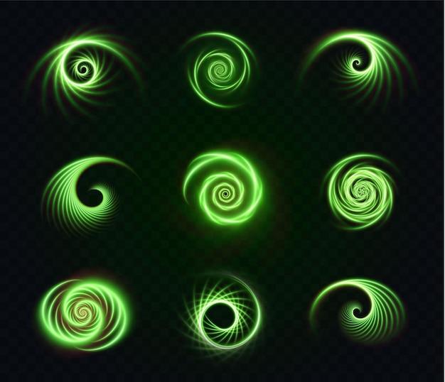 Set lichtgevende groene spiralen op een transparant oppervlak