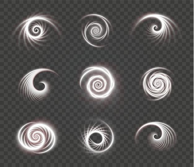 Set lichtgevende witte spiralen op een transparant oppervlak