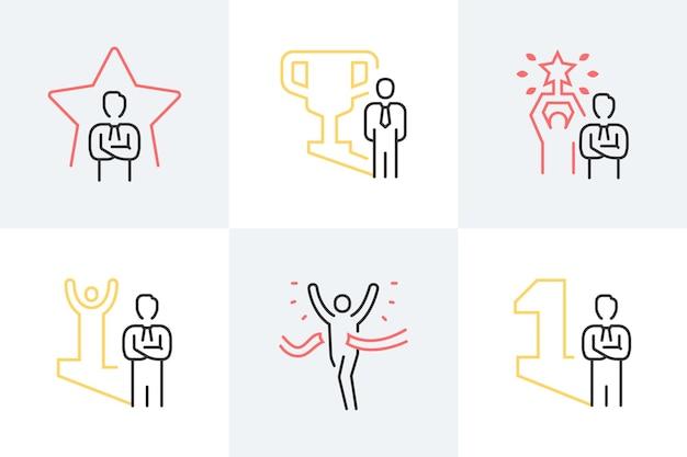 Set lijnillustraties met betrekking tot succes en prestatie.
