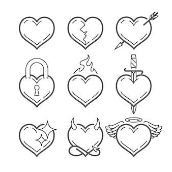 Set lijntekeningen vector harten met verschillende elementen geïsoleerd op wit. hartvorm lijntekeningen pictogrammen.