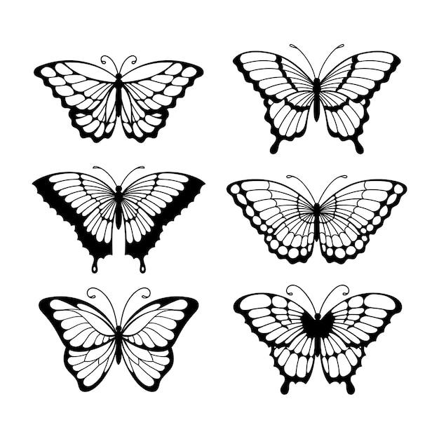Set lijntekeningen vlinders, zwart-wit afbeelding vlinders