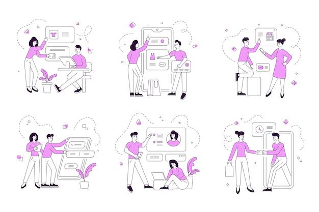 Set lineaire illustraties van moderne mannen