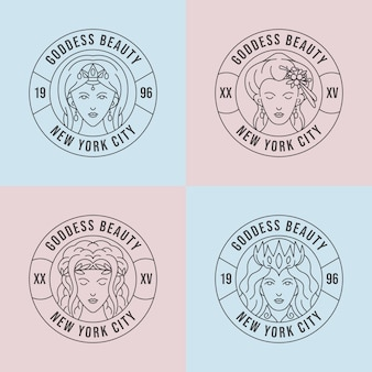 Set lineaire platte godin logo-sjablonen