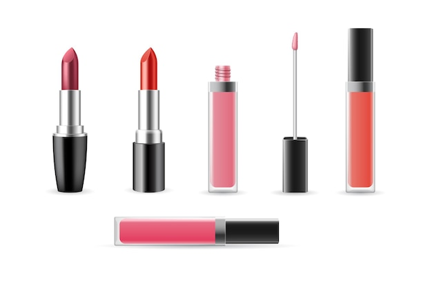 Set lipgloss en lippenstift sjablonen open en gesloten geïsoleerd op een witte achtergrond