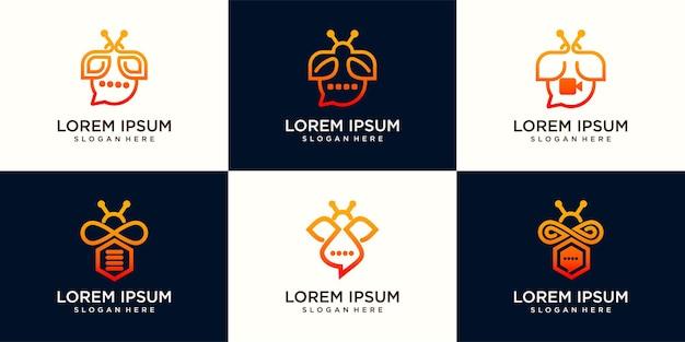 Set logo bee chat, bee video en bee data logo ontwerp illustratie