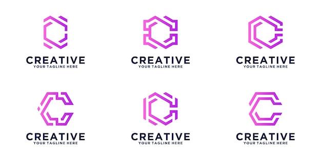Set logo initialen letter c zeshoek, voor zaken, financiën en technologie