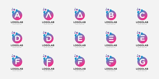 Set logo letter aanvankelijk met stip en molecuul concept logo sjabloon.