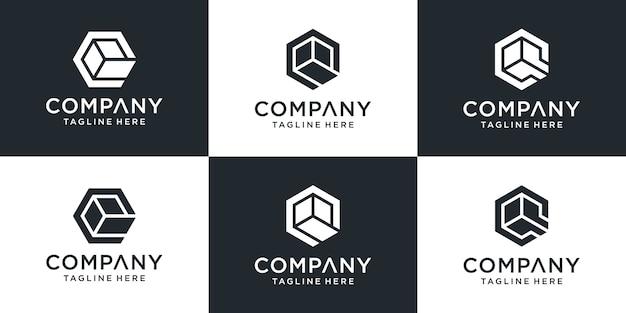 Set logo letters q met zeshoekige doosstijl