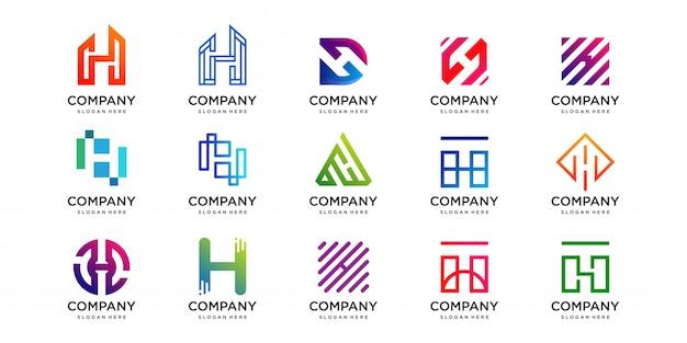 Set logo met letter h design collectie, technologie, luxe, huis, gebouw, meetkunde