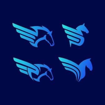 Set logo ontwerp pegasus abstract