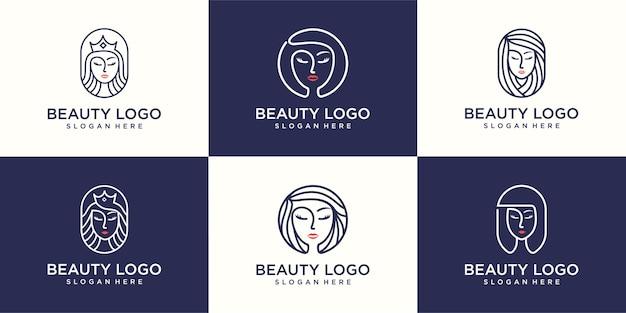 Set logo-ontwerp voor schoonheidssalon, kapsalon, cosmetica, schoonheidskoningin
