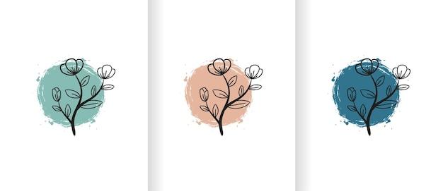 Set logo-ontwerpsjabloon van een eenvoudige en gestileerde plant over gekleurde penseelvorm. dit logo is geschikt voor vele doeleinden als botanicus, milieubedrijf, natuurlijke geneeskunde en meer