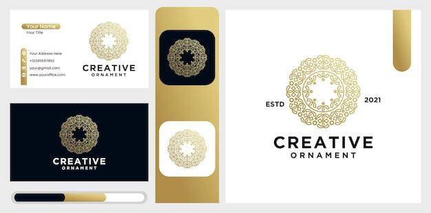 Set logo ornament ontwerpsjablonen in trendy lineaire stijl met bloemen