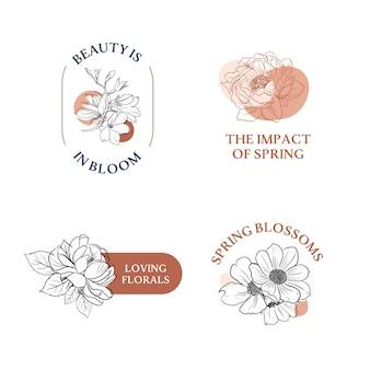 Set logo's. boeket bloemen met lente lijn kunst conceptontwerp aquarel