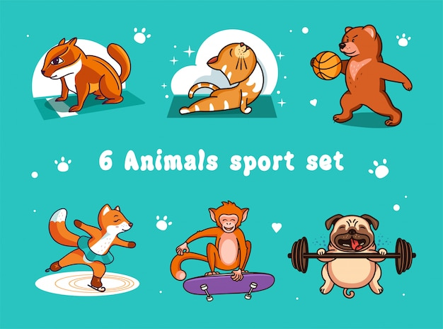 Set logo's grappige sportdieren: kat, beer, hond, vos, aap, aardeekhoorn.