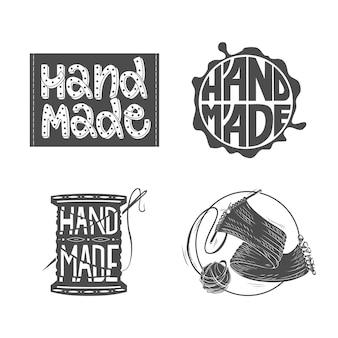Set logo's handgemaakt ontwerp.