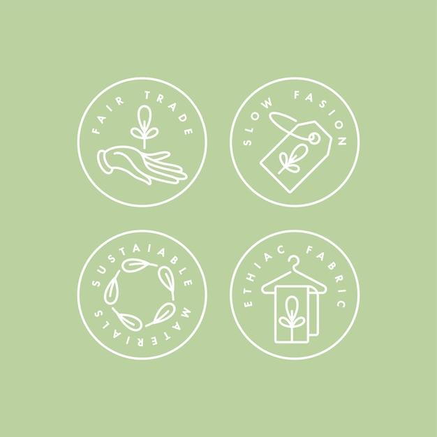 Set logo's, insignes en pictogrammen voor milieuvriendelijke productie en biologische producten. eco veilig teken ontwerp. collectie symbool van natuurlijke gecertificeerde kledingproductie.
