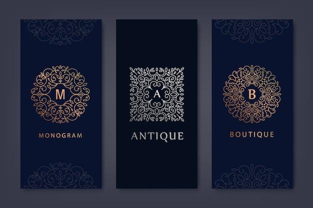 Set logo sjablonen, brochures in trendy lineaire stijl met bloemen en bladeren.