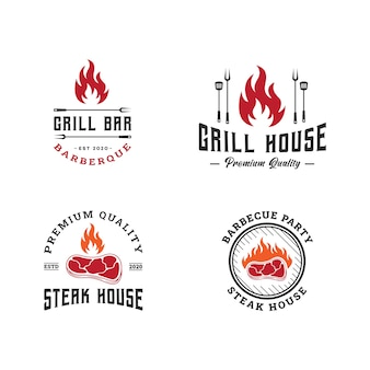 Set logo sjabloon barbecue, bbq en grill, steak house embleem