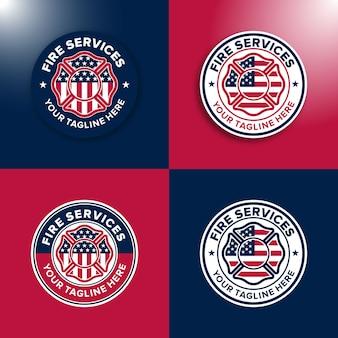 Set logo sjabloon brandweerman amerika