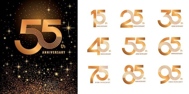 Set logo verjaardag logo ontwerp, vieren verjaardag logo meerdere regels voor felicitatie