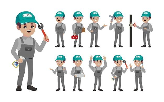 Set loodgieter met verschillende poses