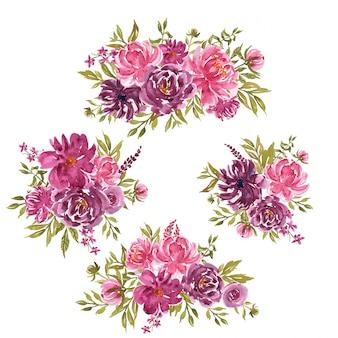 Set losse tak aquarel bloemen met paarse en roze bloemen