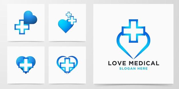 Set love medical logo