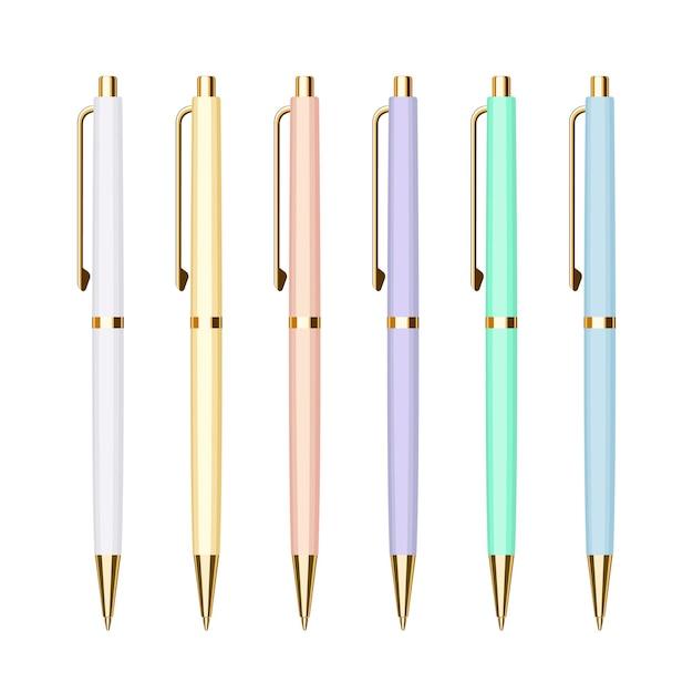 Set luxe automatische springbalpennen in pastelkleurige etuis met gouden knopen. collectie van school- of kantoorhulpmiddelen. platte vectorillustratie geïsoleerd op een witte achtergrond