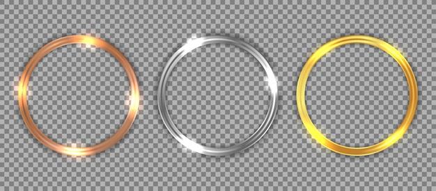 Set luxe bronzen, zilveren en gouden cirkelframe