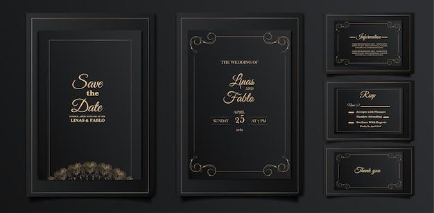 Set luxe bruiloft uitnodigingskaarten