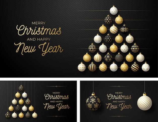 Set luxe kerst en nieuwjaar horizontale wenskaart met boom gemaakt door ballen. kerstkaart met sierlijke zwarte, gouden en witte realistische ballen op zwarte moderne illustratie als achtergrond Premium Vector