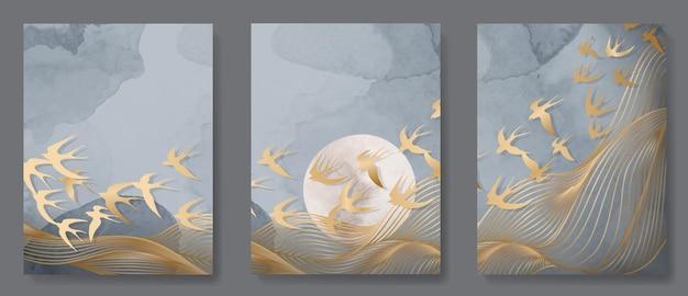 Set luxe posters met gouden abstracte lijnen en vogels in oosterse stijl op aquarel achtergrond voor interieurdecoratie.
