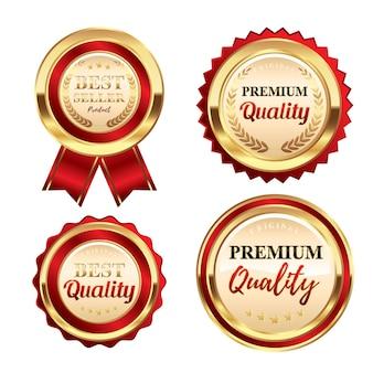 Set luxe rode en gouden badges bestseller premium kwaliteit en beste kwaliteitslabels