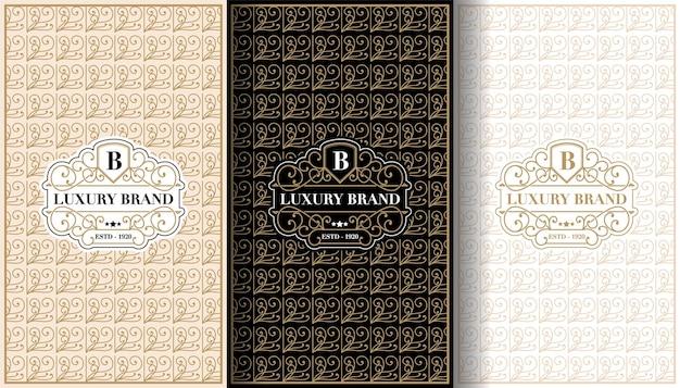 Set luxe vintage etiketten met logo en frame voor productverpakking van productdoos en koof
