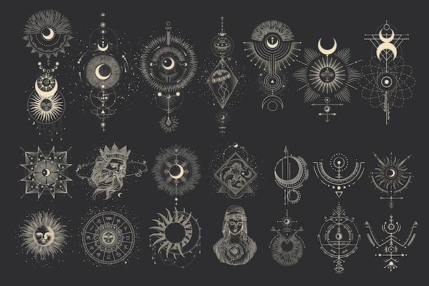 Set maanstanden. verschillende stadia van maanlichtactiviteit in vintage gravurestijl.
