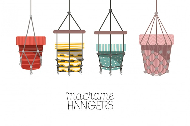 Set macrame pottenhangers